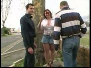 Sylvie, french bbw, fucked by 2 men in the street