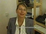 British milf secretary in stockings masturbating at work
