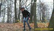 Aliya pisses on autumn leaves