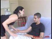 He takes the girl by surprise and creampie in her pussy French amateur
