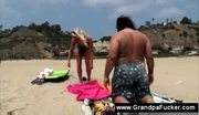 Old pervert seduces beach girl
