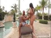 Black BBW Barbie Christy Live Bangs in Bikini by The Pool