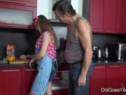 Old Goes Young - Steamy sex in the kitchen between young babe