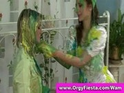 Wam ladies having wet and messy fun with paint