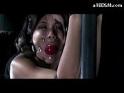 Tattooed Girl Tied To Metal Frame Mouthgag Getting Her Ass Whipped Spanked To Red In The Dungeon