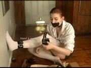 Girl in self bondage
