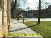 Crazy pee girl outdoor piss