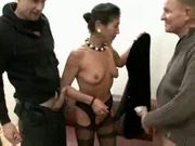 Hairy mature boss with two salaried workers