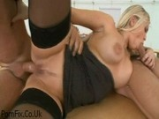 Blonde European babe loves double penetration