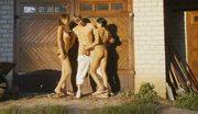 Three amateurs playing outside