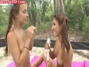 Lesbian teens play with dildo