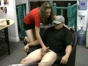 Secretary gives man a handjob as he waits for the boss