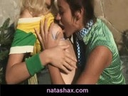 Natasha Shy and her petite blonde girlfriend get naughty in the sun
