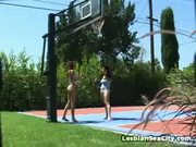 Two Lipstick Lesbos Fuck Outdoors
