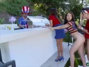 Mommy and teen 3some sex with horny stepson on 4th of July