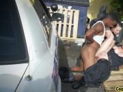 Two hornny and busty police sluts fucked hard by a big black cock
