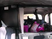 Two amateur passengers get pussy fucked in the backseat