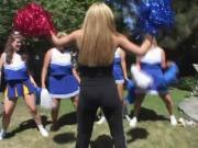Chubby lesbian cheerleaders play with toys