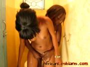 Glorious African girls are having intense lesbian sex in bathroom
