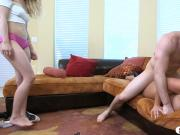 Alexa Pierce and Alli Rae nasty 3way in the livingroom