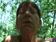 Horny small tits milf outdoor blowjob scandal busted by hiker