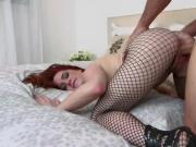 Redhead neighbor flashing perfect tits on latex sexy suit