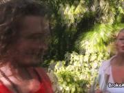 Sloppy blowjob in the park by broke teen