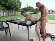 Twink gets asshole filled in doggy style outdoors