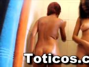 A pair of hot Latina teens shower
