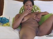 Curvy black amateur gags and fucks
