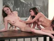 Sexy boss make out with her two workers on a long table