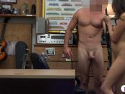 Brunette babe deeply fucked by pawn guy in his pawnshop
