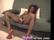 Solo masturbation with big titted African babe
