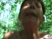 Outdoor sucking and riding from amazing granny