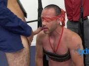 Masculine pal has to suck a massive cock while blindfolded