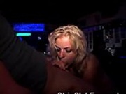 Blond stripper blows cock
