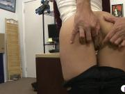Brunette woman sucks off and gets fucked by pawn keeper