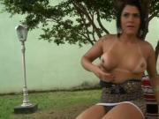 Busty shemale asshole screwed by nasty man outdoors