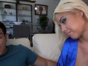 Busty blonde stepmom Bridgette B horny threesome with teens