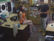 Hotbabe with glasses banged by pawn guy in his pawnshop
