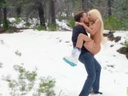 Blonde babe having sex with her bf in a snowy place