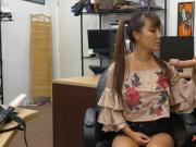 Pigtailed asian sells her samurai and boned by pawn guy