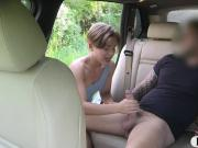 Short hair babe pounded in the backseat to off her fare