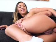 My friends Jaye Summers is very horny and seduces me masturbating my big cock