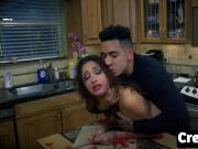 Jade Jantzen pussy filled in kitchen with big rod