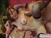 Granny plays with boobs while younger guy annihilates her craving cunt
