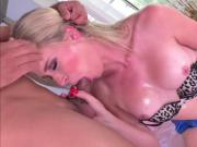 Busty Transgirl Nikki Vicious slurps Gabriels hard cock