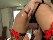Lovely tranny Icey masturbates her hard dick on the bed