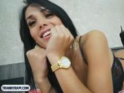 Perfect shemale from Brazil with big tits blowjob and anal