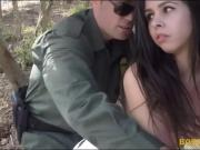 Border patrol officer banged perky titted brunette babe